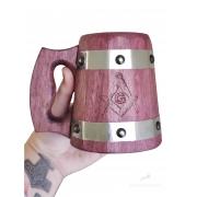 Caneca de Madeira Medieval 350ml Maçonaria em Madeira Roxinho feitas 100% a mão