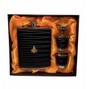 Cantil Porta Bebida De Bolso Luxo inox com copos detalhe em couro.