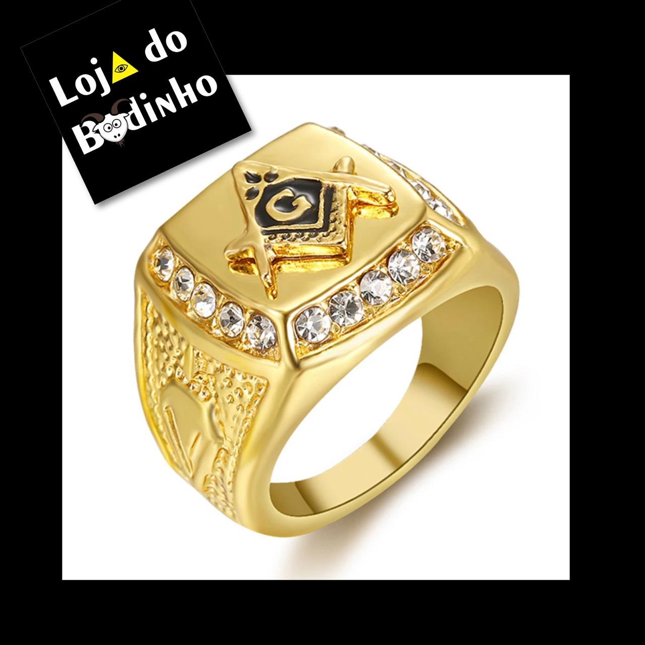 Anel Gold com Strass - Super Luxo