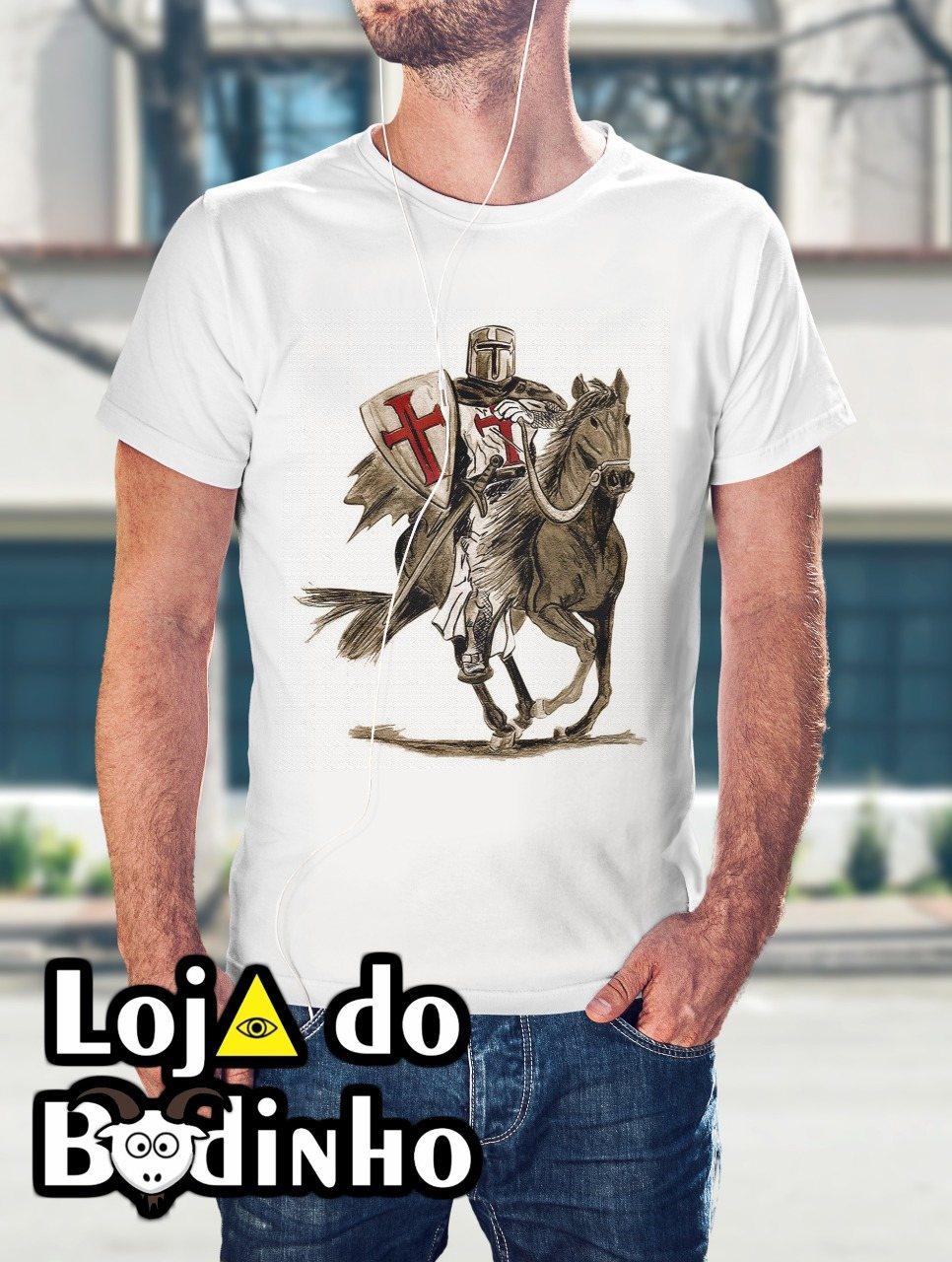 Camiseta Cavaleiro dos Templários mod. 02 - 3 Opções de Cores