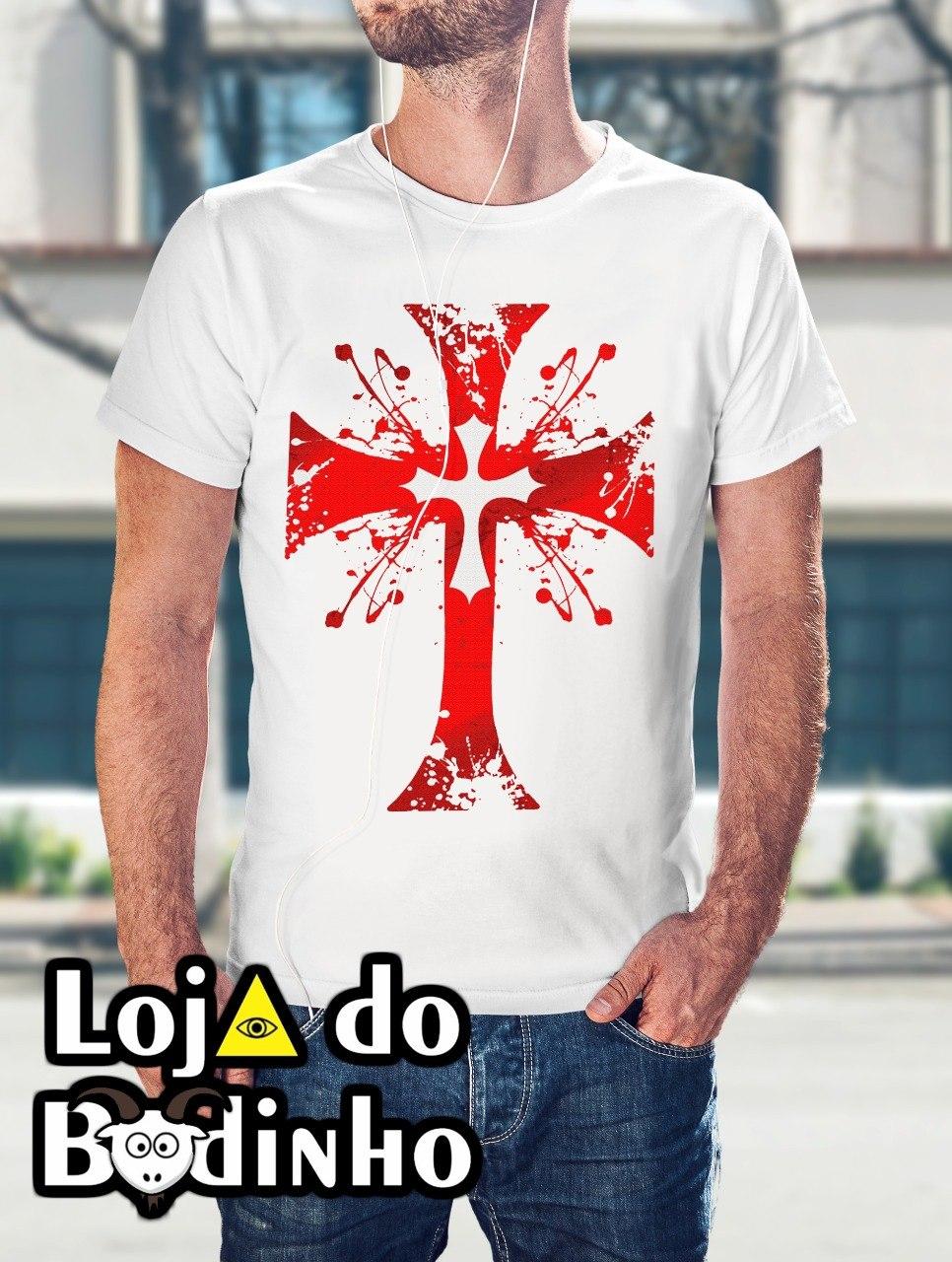 Camiseta Cruz Templária mod. 13 - 3 Opções de Cores