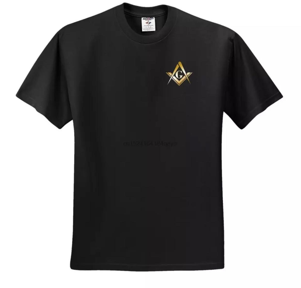 Camiseta Esquadro e Compasso - Brasão Dourado.