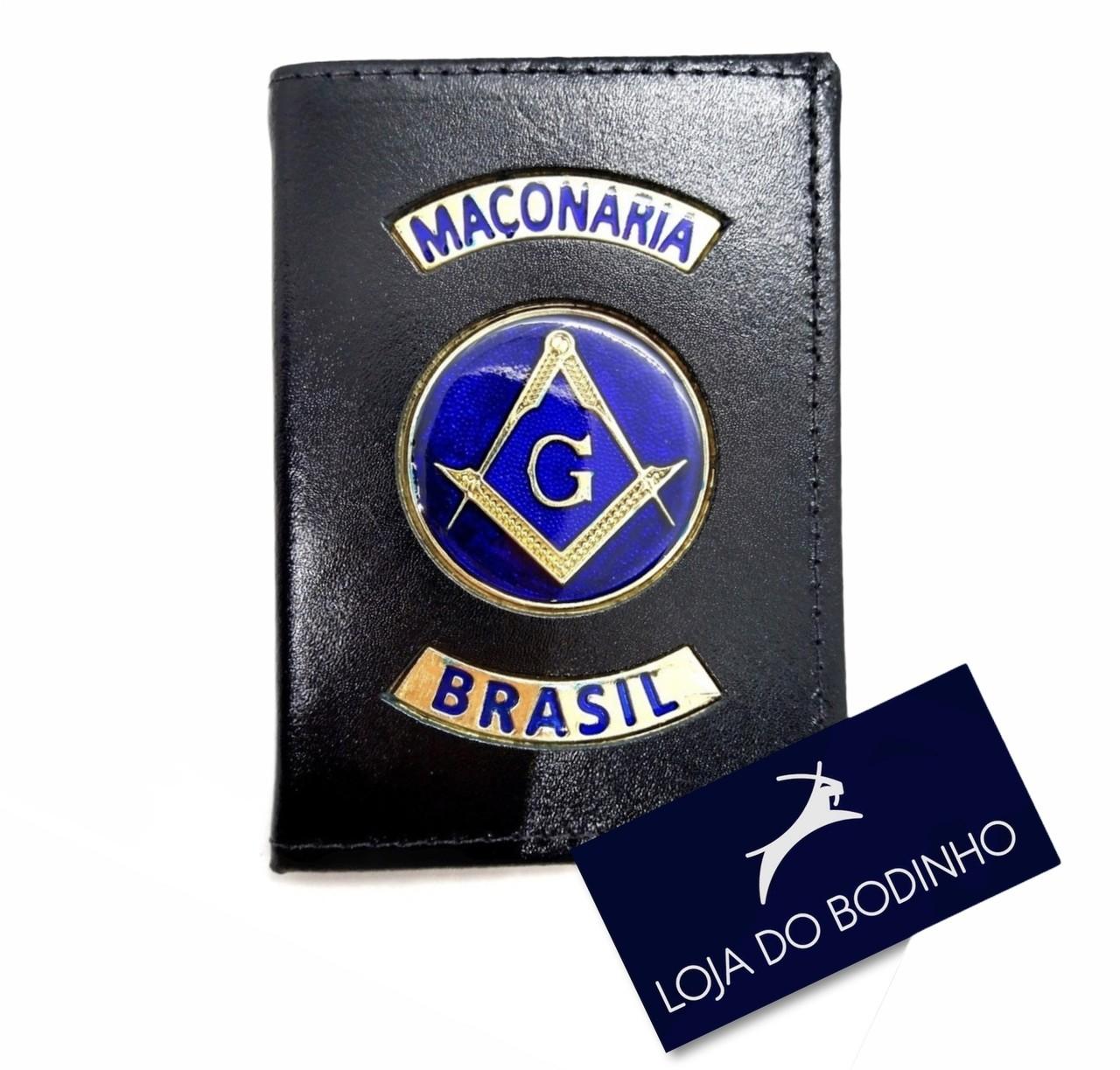 Carteira Distintivo Luxo Couro Preto maçonaria  - Envio 18/02