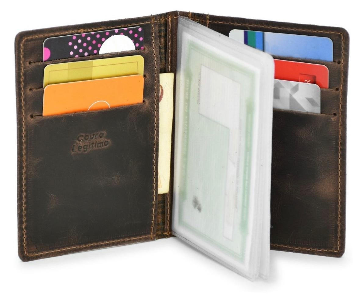 Carteira e Porta Documentos Cabe RG - Escolha a estampa - 100% Couro Legítimo