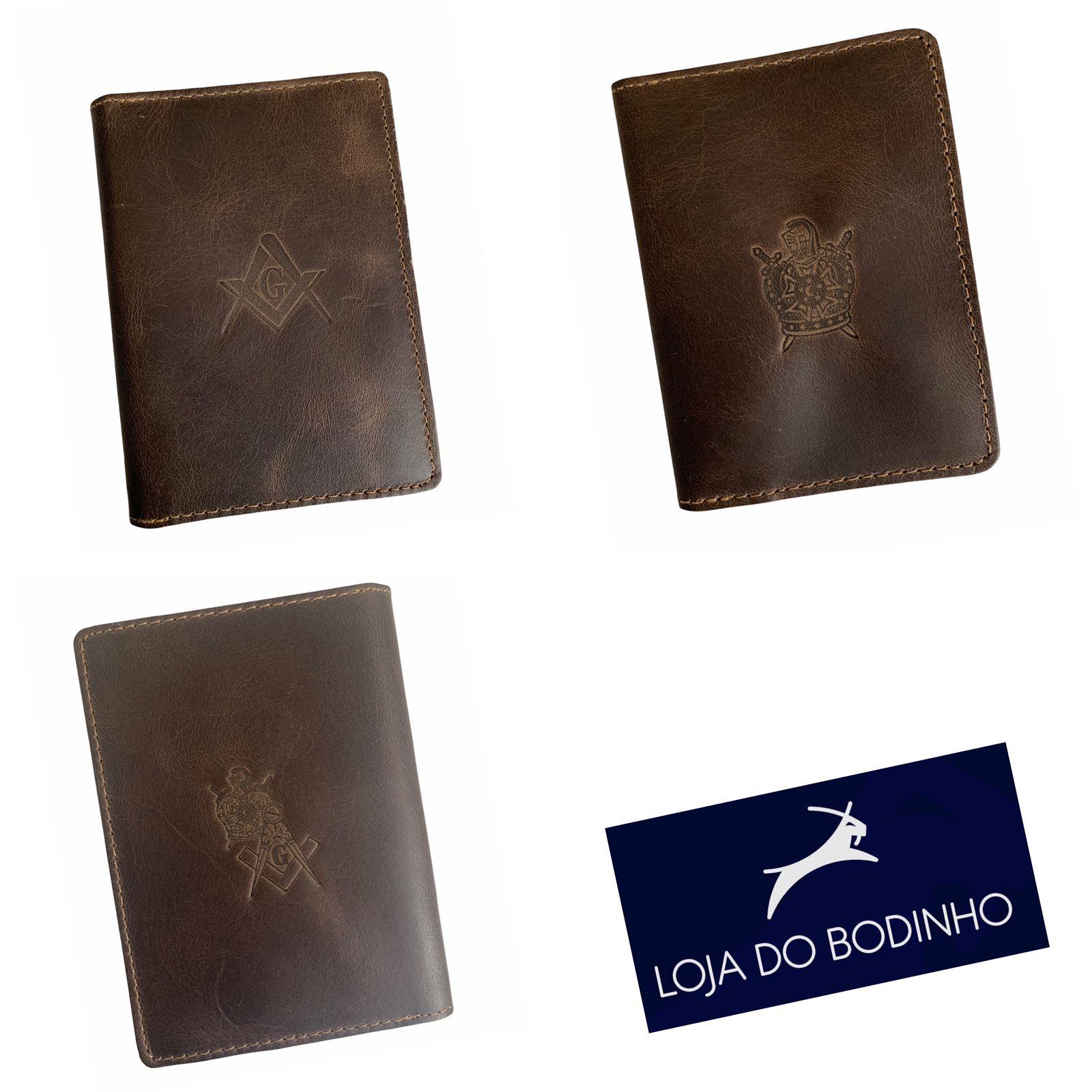 Carteira e Porta Documentos Cabe RG - Escolha a estampa - 100% Couro Legítimo - Marrom Escuro