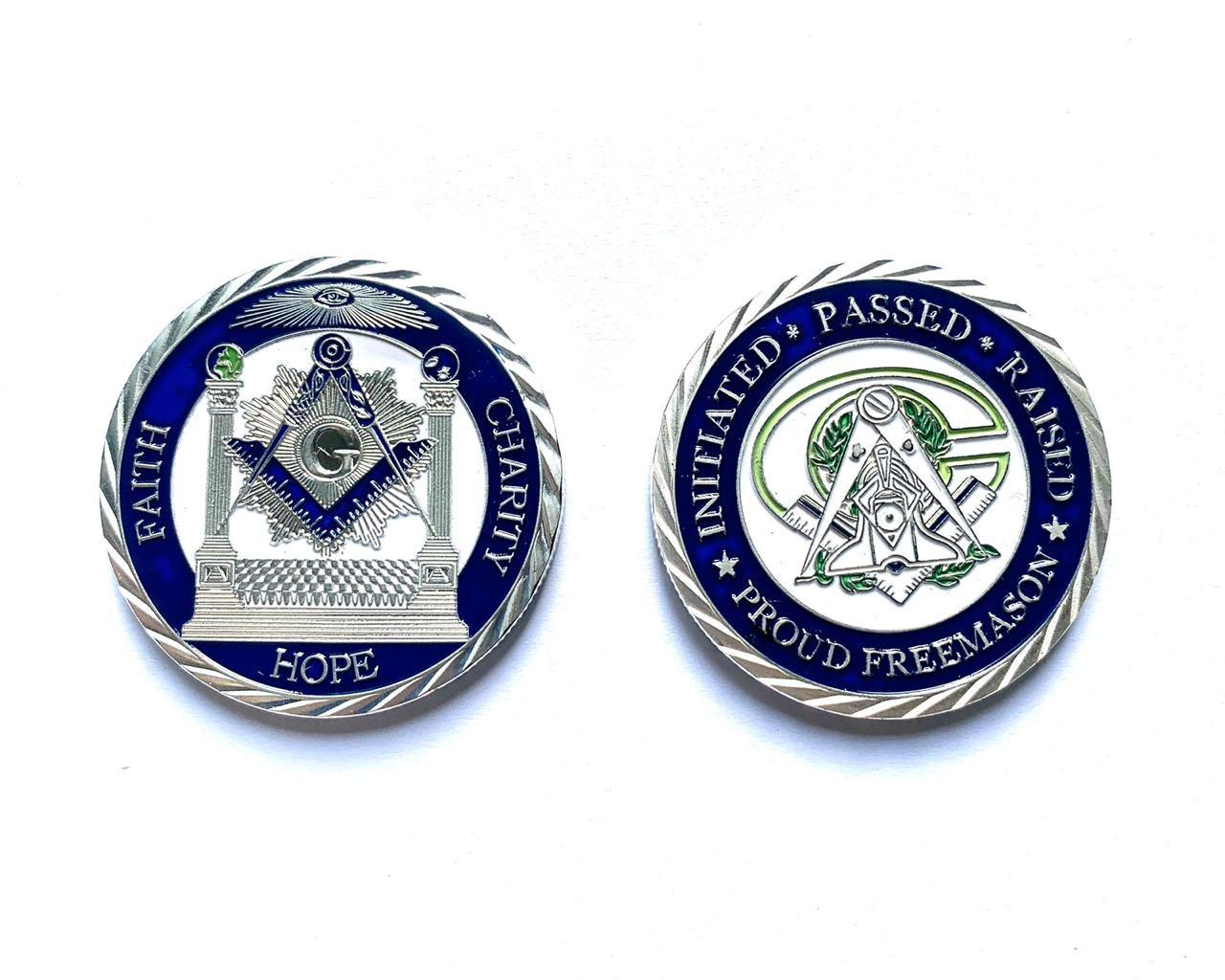 Moeda Maçônica Logo com Altar - Prata