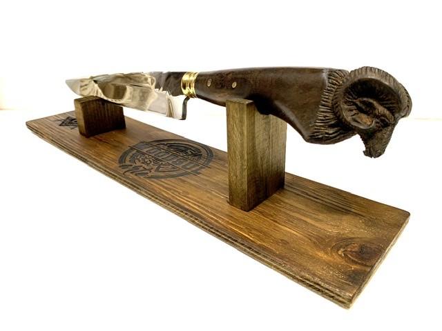 """Faca Bode 10"""" Polegadas em Aço inox 5160 - Cabo de madeira + Bainha de Couro + Estojo em madeira"""