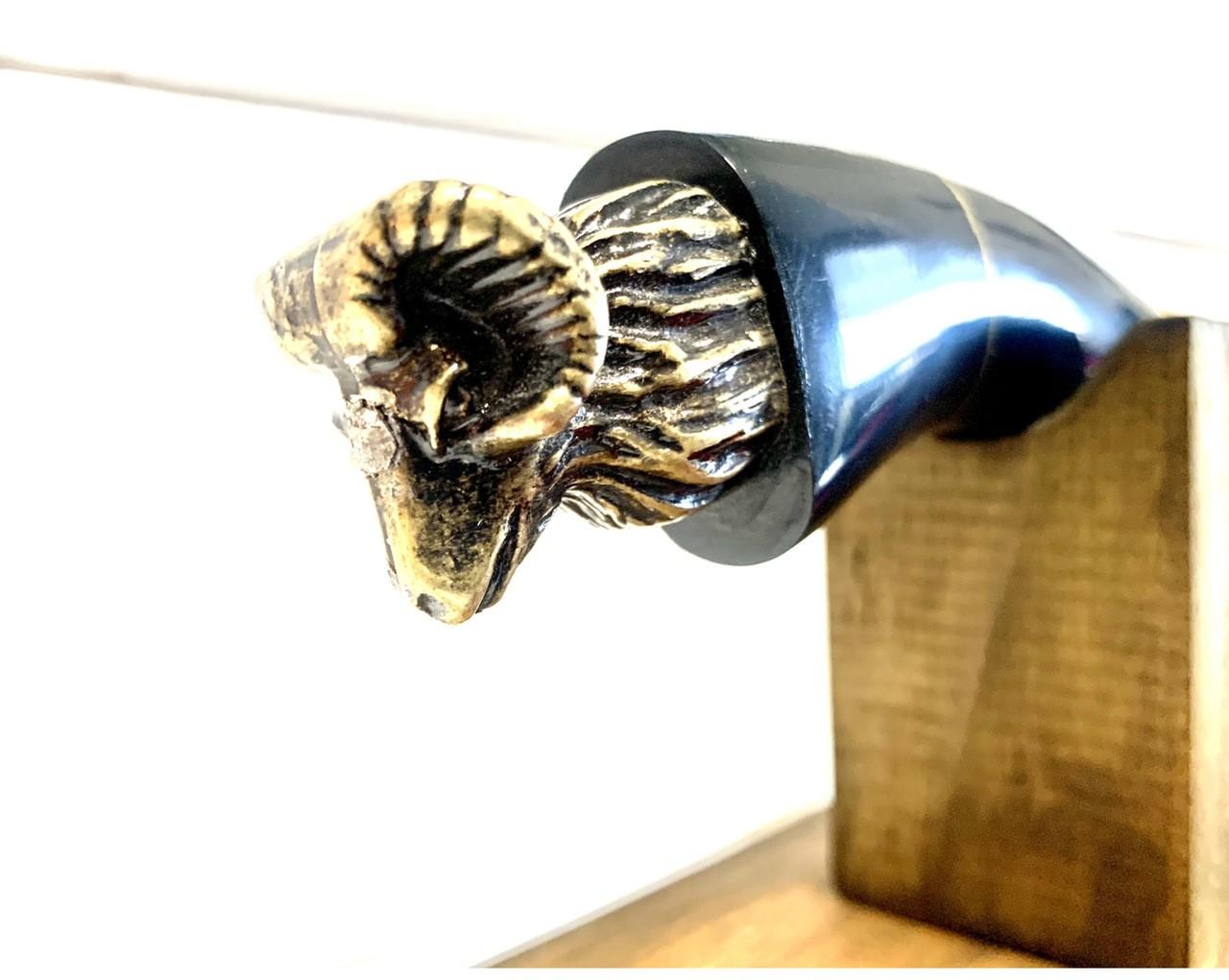 """Faca Bode 12"""" Polegadas em Aço inox 420 - Cabo chifre de búfalo + Bainha de Couro + Estojo em madeira"""
