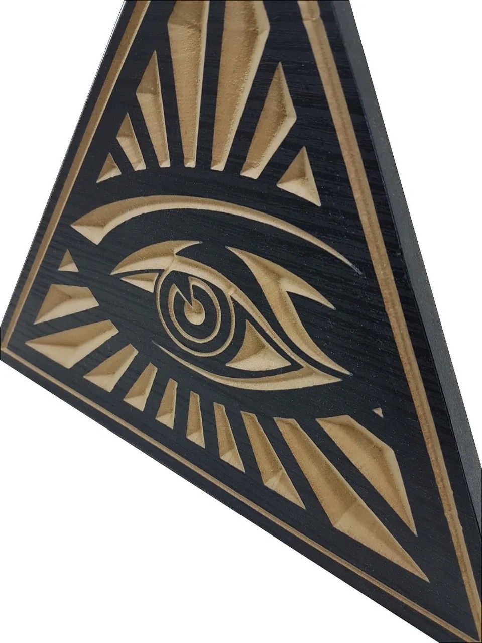 Quadro Placa Entalhada - Olho Que Tudo Vê - Tríade Maçônica