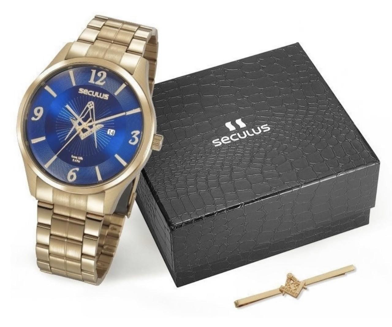 Relógio Seculus Masculino Azul Maçônico