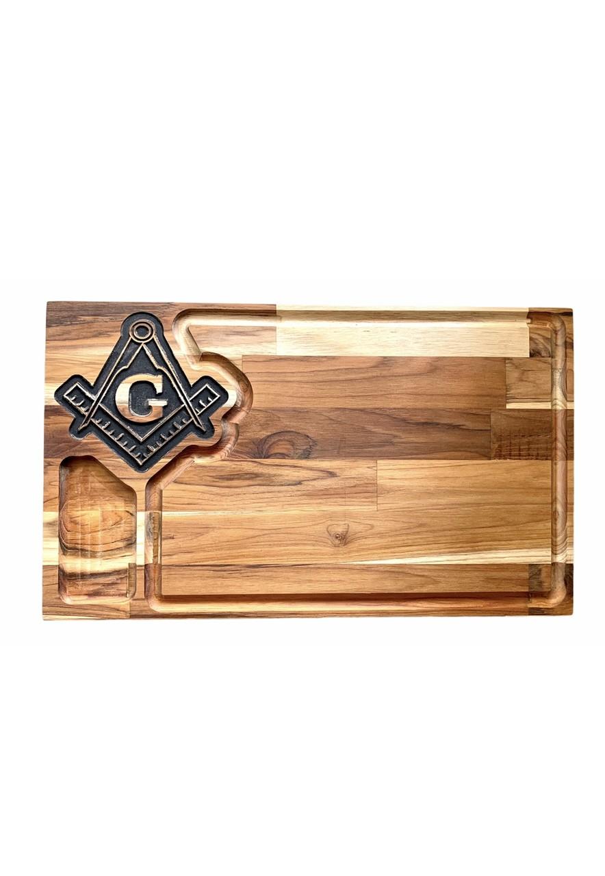 Tabua de Churrasco em madeira Esquadro e compasso Grande - 50 x 28 cm.