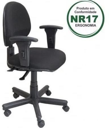 Cadeira Digitador Back System NR-17  Braço Regulável Giratória com Rodinhas COD 46