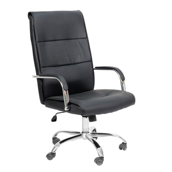 Cadeira Escritório Executiva Presidente Home-Office Braço Fixa Giratória com Rodinhas Confortável com Relax COD 69