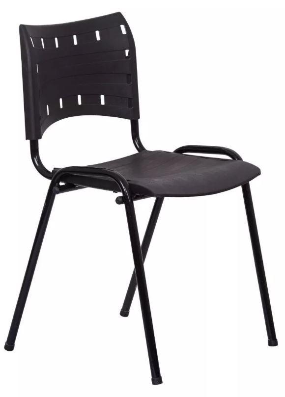 Cadeira Compacta Fixa empilhável Ideal para Recepção Escolas Secretaria Escritório Interlocutor COD 95