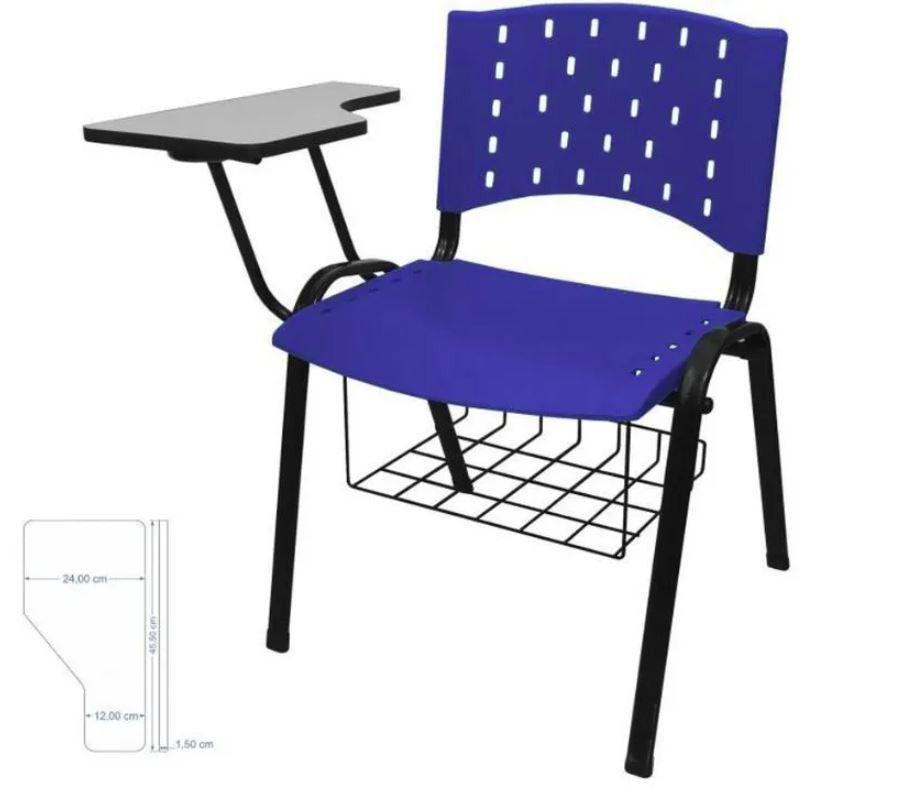 Cadeira universitária plástica anatômica com porta livros azul COD 156