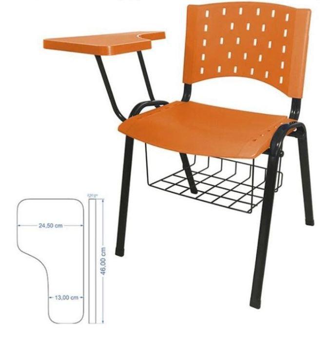 Cadeira universitária plástica anatômica com porta livros laranja COD 157