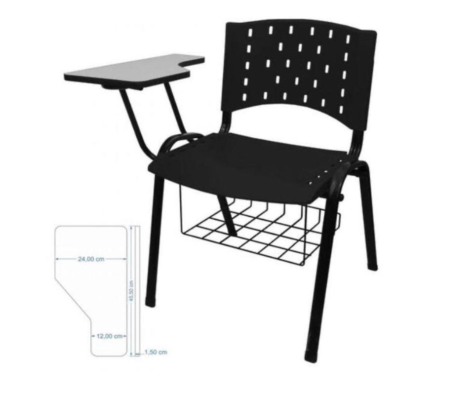 Cadeira universitária plástica anatômica com porta livros preta COD 158