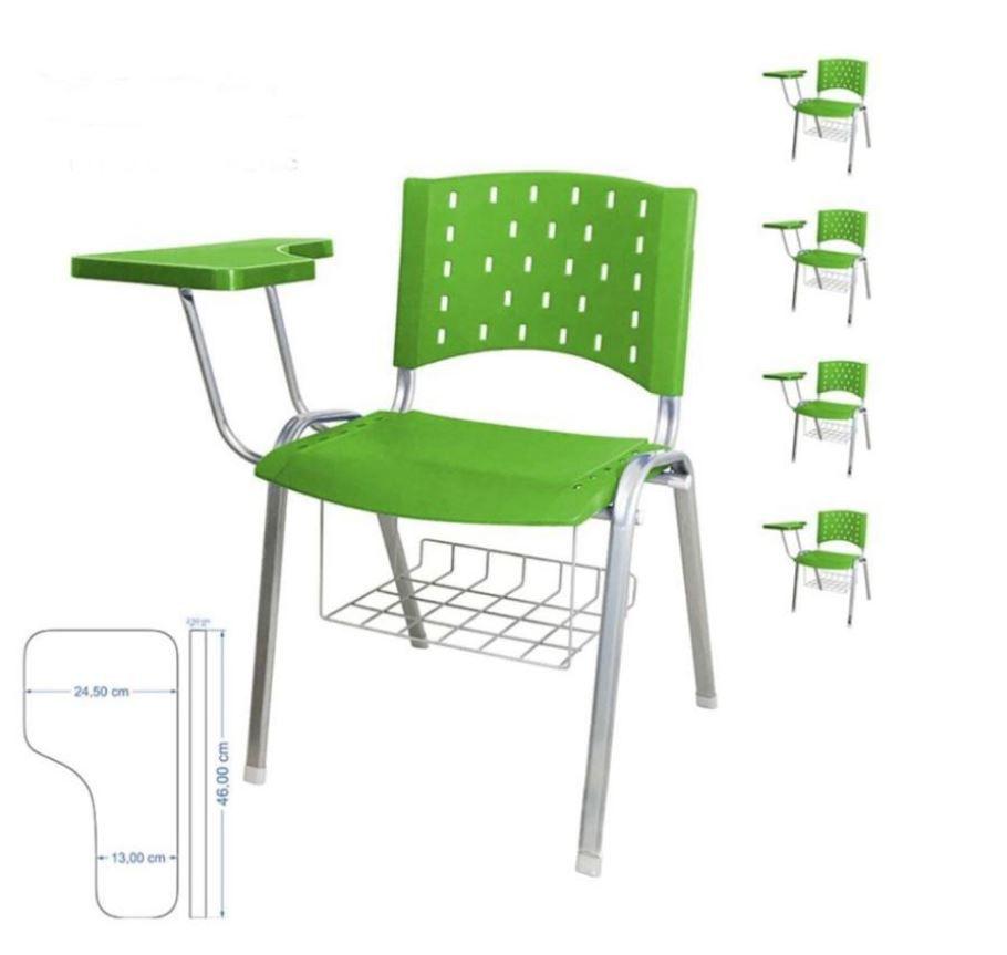 Cadeira universitária plástica anatômica com porta livros verde COD 159