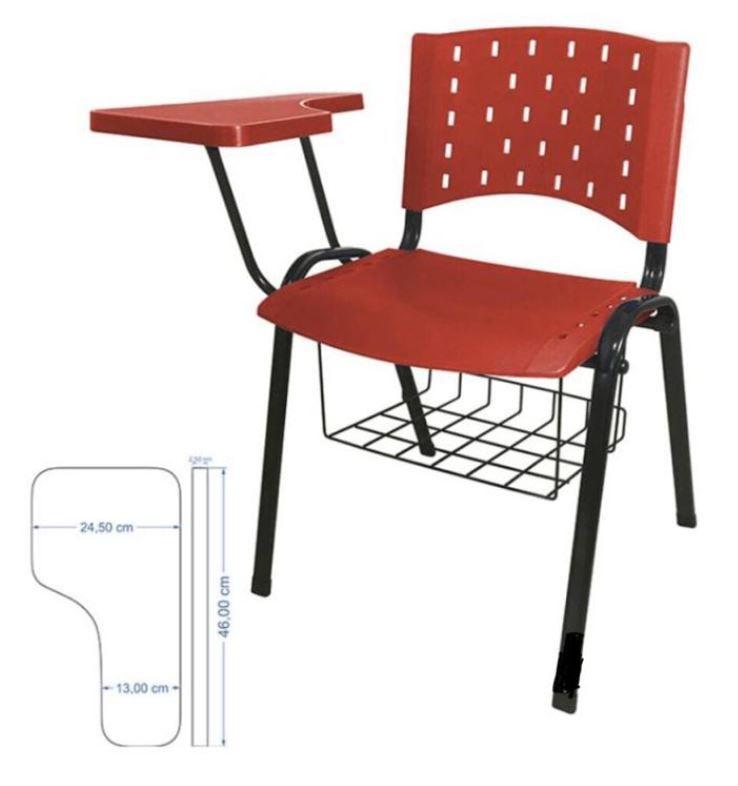Cadeira universitária plástica anatômica com porta livros vermelho COD 160