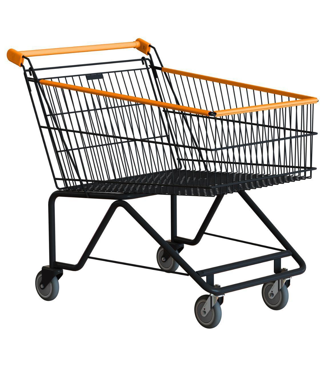Carrinho de compras ergonômico 70 litros, preto com detalhes coloridos COD 455