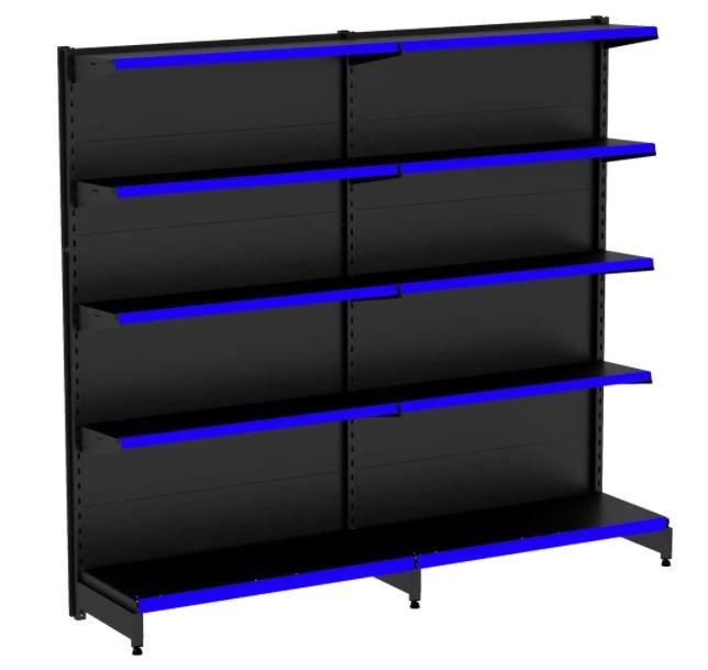 Kit Gôndola Flex 40  Parede 1 Inicial + 1 Continuação Preta Porta Etiqueta Azul COD 615