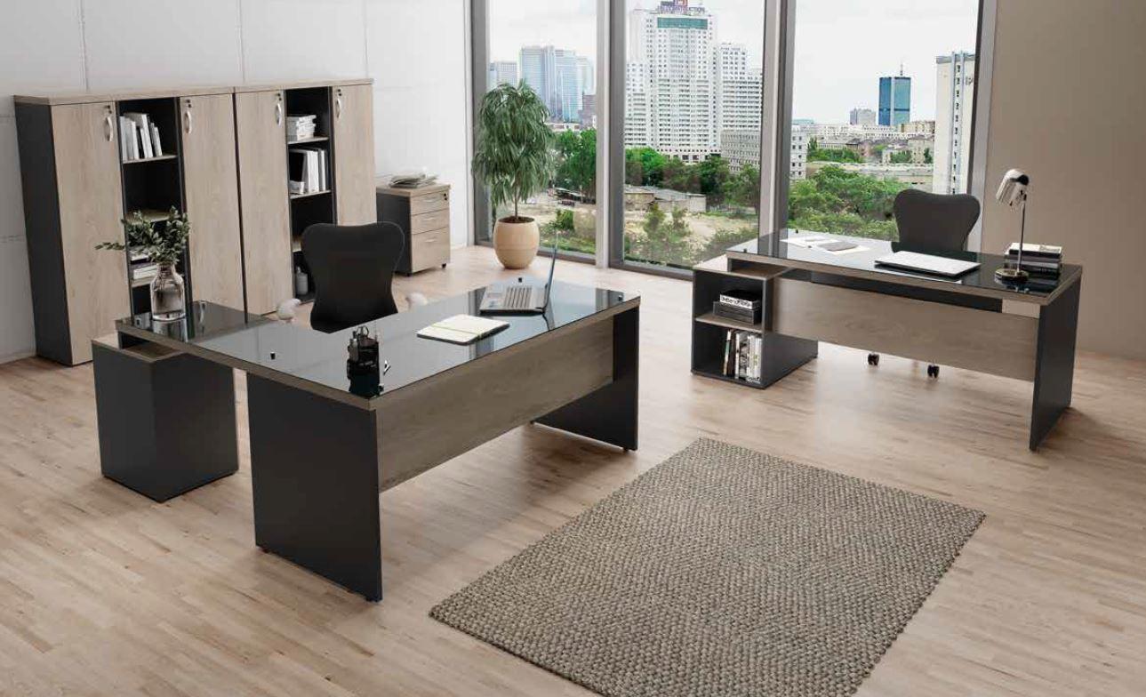 Mesa em L com tampo de vidro e gaveteiro acoplado armário alto linha M40 COD 278