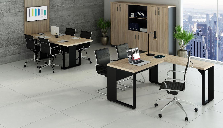 Mesa em L, mesa de reunião e armários linha Start COD 282
