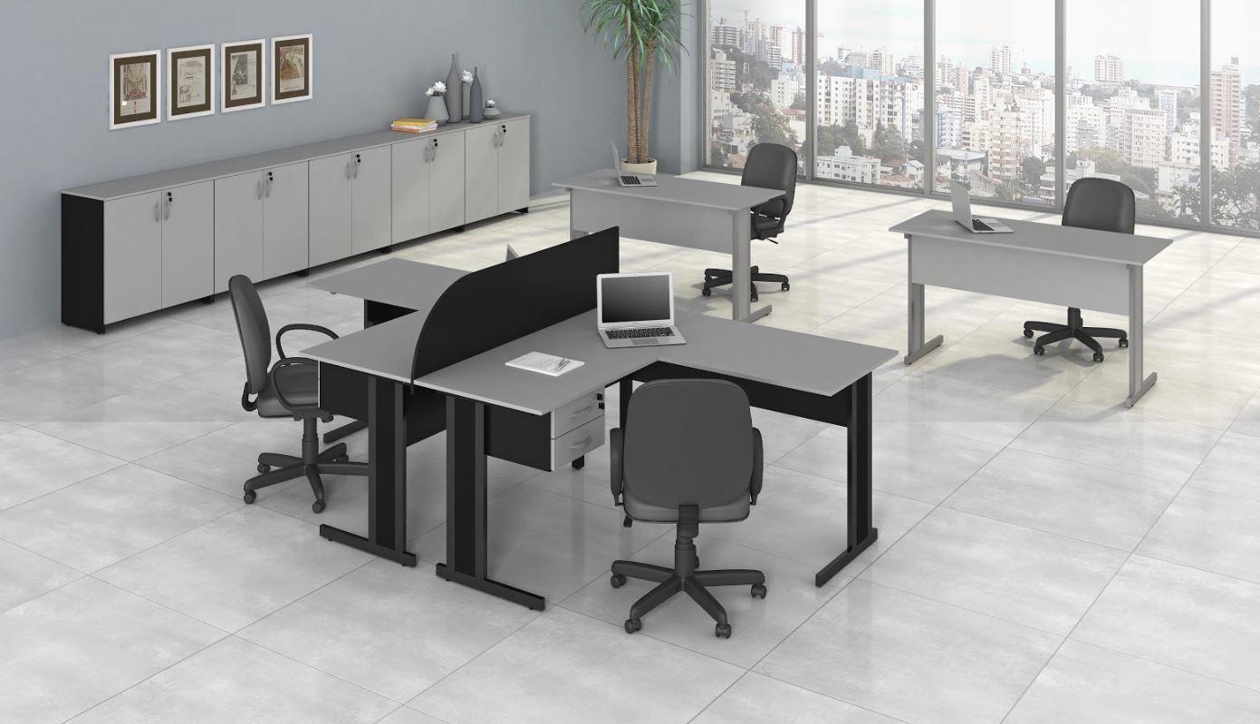 Mesa Escritório em L com divisão e Gaveteiro Armários Linha New City COD 292