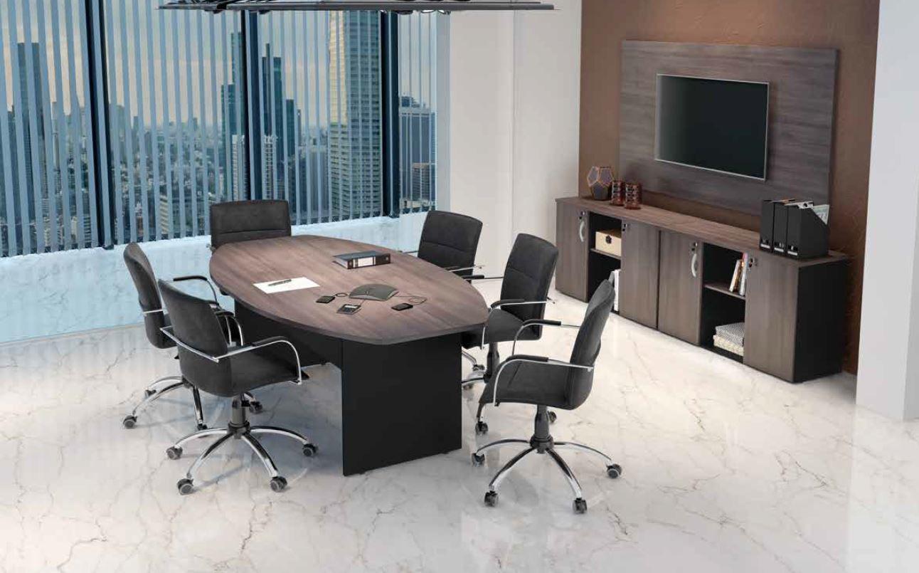 Mesa reunião e armário bancada M25