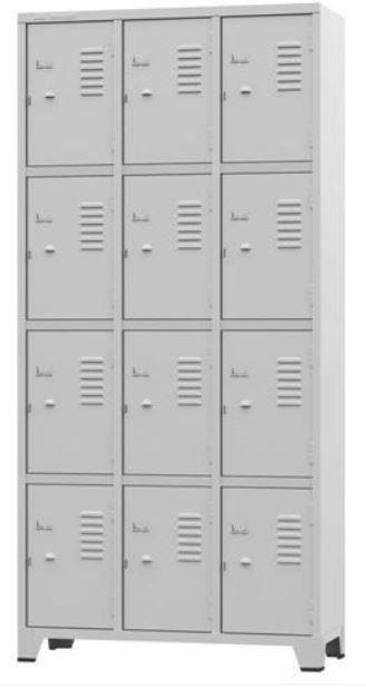 ROUPEIRO GRA 1/12 #26 com 12 Portas cor cinza COD 331