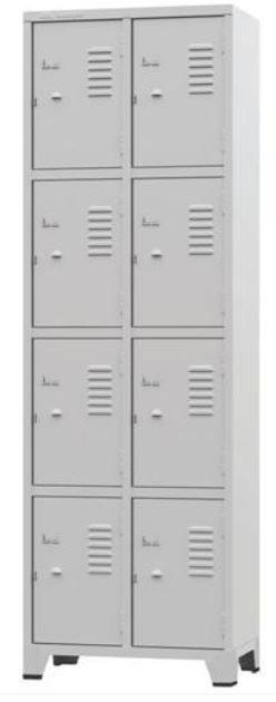 ROUPEIRO GRA 1/8 #26 com  08 Portas Pequenas na cor cinza COD340