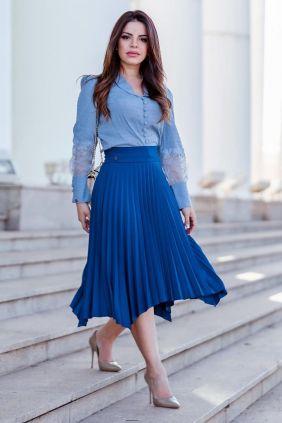 Camisa Feminina Cropped Manga Longa Kauly Azul