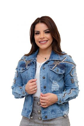 Jaqueta Jeans Bordada com Destroyed Joyaly