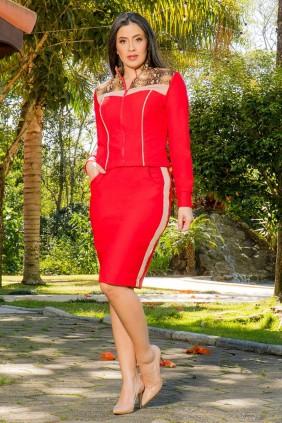 Jaqueta Vermelha em sarja montaria Luciana Pais