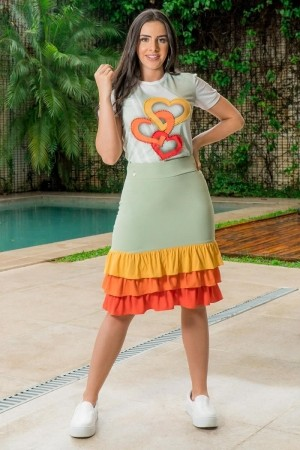 Saia Justa Luciana Pais com Babado Color Block