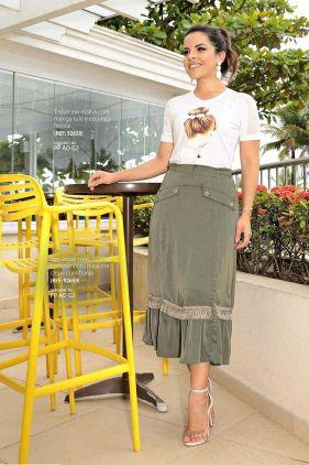 T-shirt Branca Manga Curta de Tule Luciana Pais - 92658