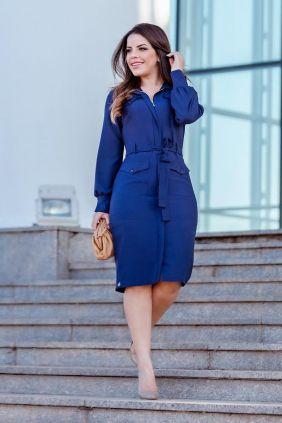 Vestido de Crepe Twill Manga Longa Kauly Azul