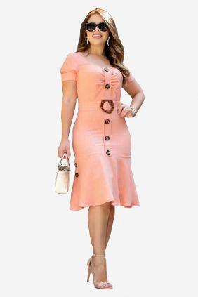 Vestido de linho mescla com botões frontais