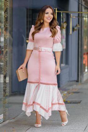 Vestido de seda com recortes de tie dye
