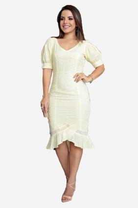 Vestido em algodão bordado com renda
