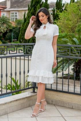 Vestido Evasê em Crepe Branco Luciana Pais