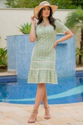 Vestido Evasê em Laise Verde Luciana Pais