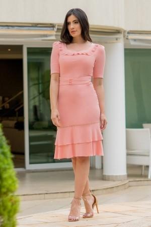 Vestido de viscose acetinada Luciana Pais