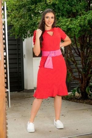 Vestido Evasê Luciana Pais com Babado Vermelho