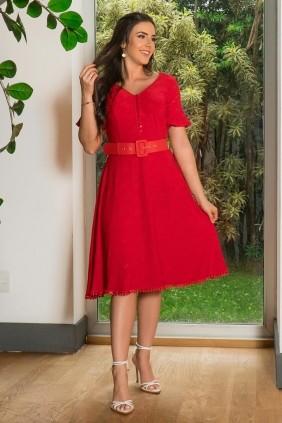Vestido Evasê Luciana Pais Manga Curta Vermelho