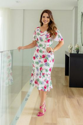 Vestido Com Babado Estampa floral Kauly