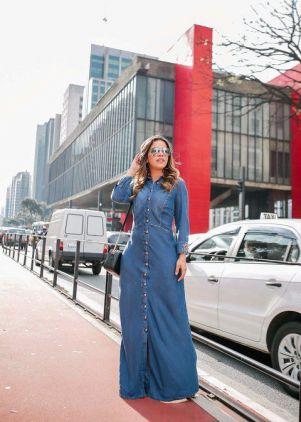 Vestido Jeans Longo Joyaly com Botões