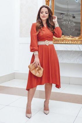 Vestido Lady Like Coral com Cinto Kauly