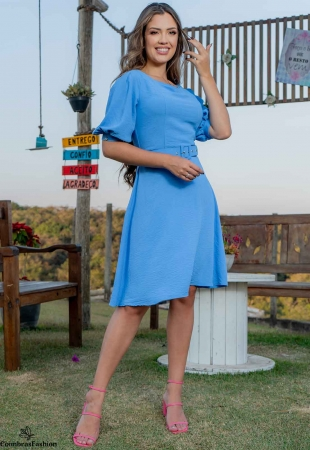 Vestido Lady Like em crepe amassadinho com cinto luciana pais