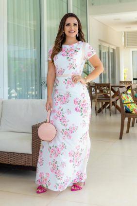 Vestido longo em seda floral com elastano